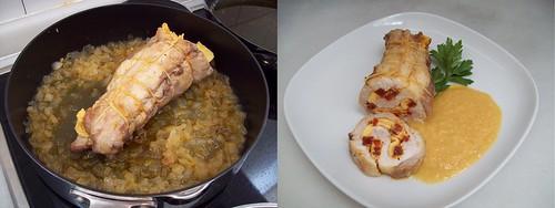 Solomillo relleno de tortilla y chorizo