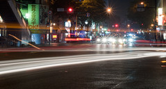Traffic (daniellih) Tags: road street city trip travel light summer urban signs cars lines car sign june japan bulb landscape nikon long exposure downtown cityscape traffic line burst fukuoka scape urbanscape kyushu 九州 福岡 hakata 2011 d90 daniellih