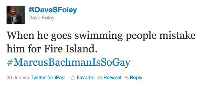 Screenshot of a tweet from Dave Foley's Twitter account, stating When he goes swimming, people mistake him for Fire Island with the hashtag Marcus Bachmann is So Gay, all one word. It was sent on June 30th on Twitter for Ipad.