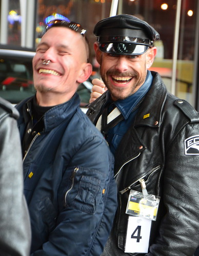Mr. German Leather contestants Mr. Leather Berlin laughing BLF Press shooting