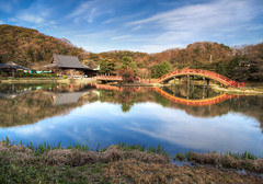 The Red Bridge and the Temple (arcreyes [-ratamahatta-]) Tags: japan reflections landscape colorful  yokohama   hdr  redbridge kanazawabunko 3xp kanagawaprefecture   kanazawaward agustinrafaelreyes