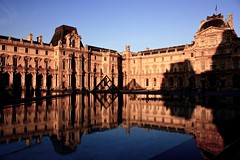 Louvre Palace Reflected (Paris, France) (runintherain) Tags: paris france water buildings reflections europe shadows louvre museums franais musedulouvre louvrepalace canonxsi canon450dxsi runintherain