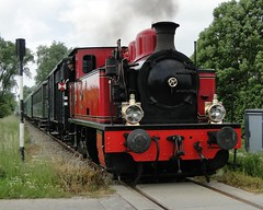 SGB SGB-steamlocomotive 'La Meuse' nickname 'Bison' with a tourist train near 's-Heer Abtskerke. (Franky De Witte - Ferroequinologist) Tags: de eisenbahn railway estrada chemin fer spoorwegen ferrocarril ferro ferrovia