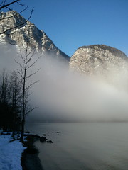 (Michael Polonski) Tags: trip light cloud mountain lake alps colour nature water mobile digital landscape bayern bavaria boat alpen vignette koenigssee knigssee lakescape