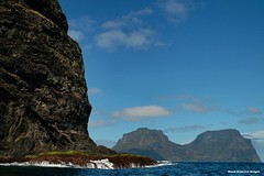 Rounding North Head with Mt Lidgbird & Mt Gower in View - Lord Howe Island Circumnavigation (Black Diamond Images) Tags: mountains island boat paradise australia cliffs nsw boattrip northhead circumnavigation lordhoweisland worldheritagearea mtgower mtlidgbird thelastparadise circleislandboattour