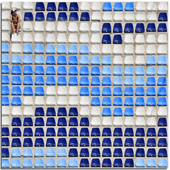 Waiting for the match (Nespyxel) Tags: blue woman white rome roma donna alone colours chairs stadium blu azure puzzle repetition azzurro sedie bianco solitario stefano stadio geometrie foroitalico geometries nespyxel stefanoscarselli