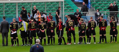 Crusaders FC line up at the Irish Cup Final