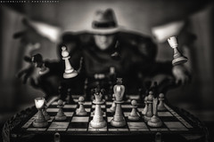 Chessmaster  (Quicksil7er) Tags: bw color hat fun mood play bokeh magic chess levitation processing horror freddy krueger chessmaster quicksil7er