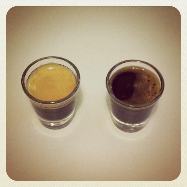 Ergebnis: Zwei Gläser Espresso