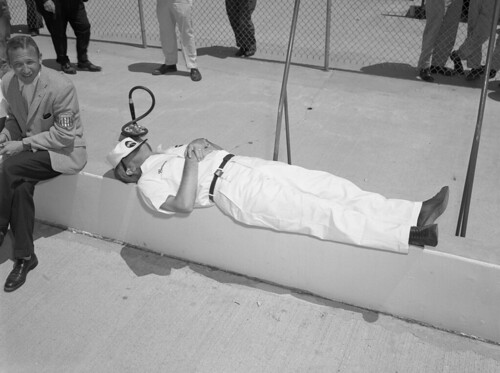 Johnnie Parsons snoozes at the track in 1950