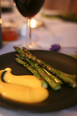 Chargrilled English asparagus with saffron alioli