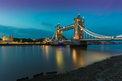 Tower Bridge, London (Davoud D.) Tags: longexposure bridge sunset london towerbridge evening bluehour riverthames suspensionbridge partlycloudy basculebridge towerbridgelondon gradeilisted
