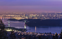 Vancouver from Cypress Mountain (Sarmu) Tags: city bridge light sunset wallpaper urban canada building skyline architecture night vancouver skyscraper lights bay twilight highresolution downtown cityscape bc view skyscrapers nightshot dusk britishcolumbia widescreen 1600 highdefinition resolution northamerica 1200 cbd hd lionsgatebridge bluehour wallpapers 1920 cypressmountain westvancouver vantage vantagepoint ws 1080 2014 1050 720p 1080p urbanity 1680 720 digitalblending 2560 sarmu