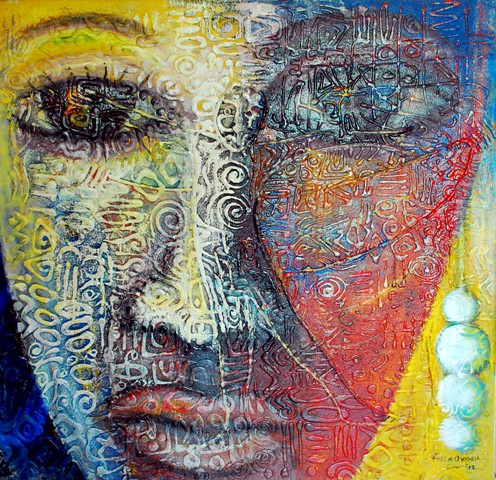 In the eyes of a woman by Fidel Oyiogu (Mixed Media) (N600,000.00)
