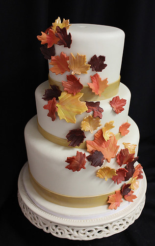 Golden Fall Leaves Cascade Wedding Cake