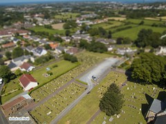 Graveyard tilt shift (Ningaloo.) Tags: kite church graveyard kevin shift aerial kap tilt guernsey castel lajoie kevinlajoie
