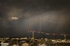 Falling sky (Lolo_) Tags: marseille foudre orage grues pluie averse ciel lightning storm france clouds nuages cranes clair rain saint louis quartiers nord 15e