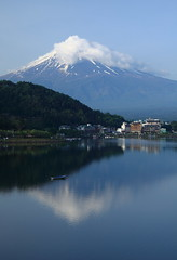 InvertedimageofMt. Fuji ( Spice (^_^)) Tags: trip travel sky cloud mountain lake snow reflection art nature water japan clouds canon reflections photography eos boat photo flickr colours image picture blogger tourist livejournal  fujisan        mtfuji tour