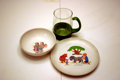 Vintage Melmac Disney Dishes and Pyrex Drink-Up