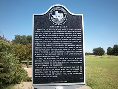 The Red River, Burkburnett, Texas Historical Marker (fables98) Tags: texas historic redriver stateborder texasstateline texashistoricalmarker burkburnett wichitacounty