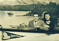 Coney Island Honeymoon (Wires In The Walls) Tags: ny newyork brooklyn vintage coneyisland boat honeymoon retro 1940s staged newlyweds trompeloeil 1946 pennant