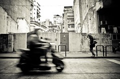 (laffaff) Tags: china leica old bw motion bike vintage town blurry asia asien pedestrian rangefinder cycle moto motor asie macau macao m9 bewegungsunschrfe tff messsucher