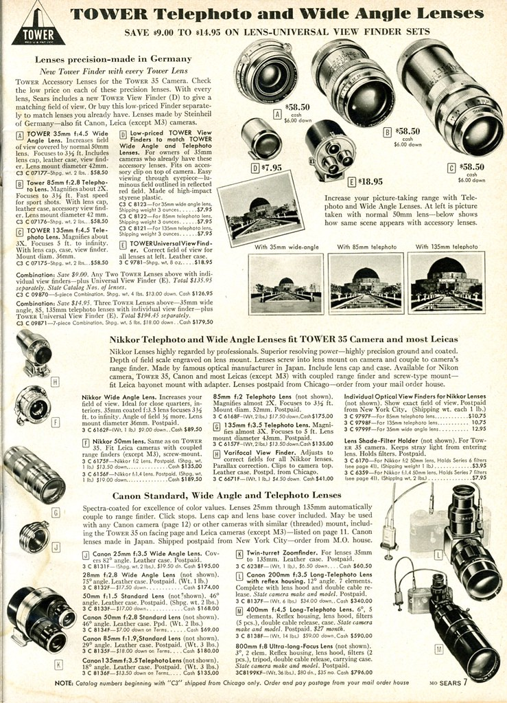 1958 Sears: Leica Thread Mount -  Tower (Steinheil), Nikkor, and Canon Lenses