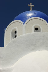 Santorini, Greece (Dietmar Temps) Tags: ocean blue white church water colors island cross chapel santorini greece greekislands griechenland santorin cyclades greekorthodoxchurch blueroof akrotiri kykladen