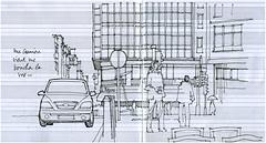 Au Pont d'Avroy (gerard michel) Tags: sketch belgium liège croquis