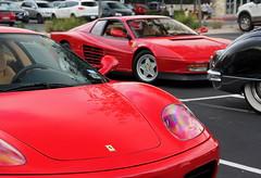 Ferrari 360 Modena & Testarossa (Monkey Wrench Media) Tags: red italy detail face wheel austin emblem italian italia texas tx 360 ferrari headlights front redhead badge modena rim coupe combination tr fca combo 512 testarossa f360 rossa testa cuoio rossocorsa ferrariclubofamerica