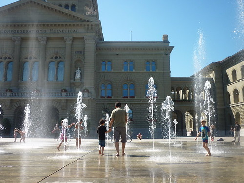 Les jets d'eau de la Place fédérale