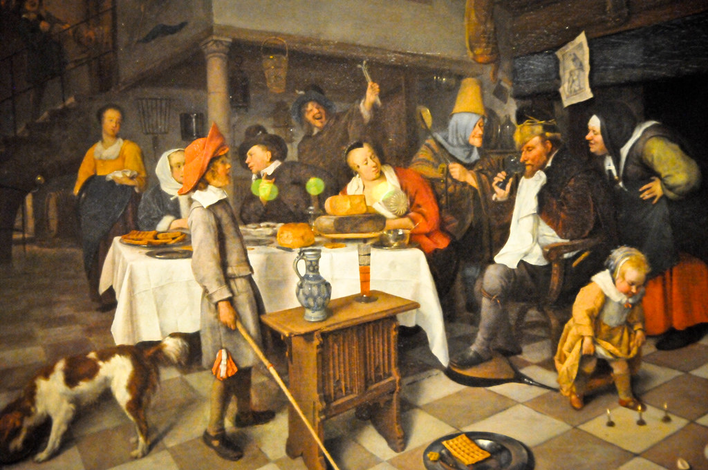 Jan Steen - Twelfth Night Feast: The King Drinks, 1665 at The Queen's Gallery Buckingham Palace London England