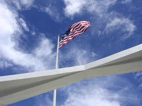 U.S. flag over the Arizona Memorial