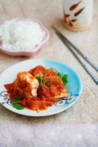 My Mother's Tofu in Fresh Tomato Sauce (đậu sốt cà chua)