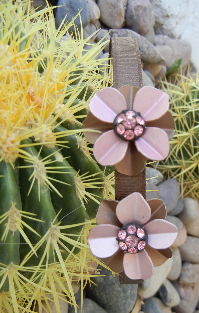 Vintage Chocolate Brown and Pink Rhinestone Flowers Headband