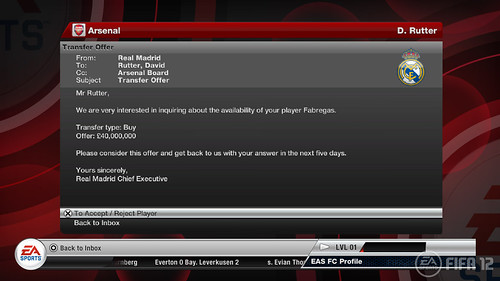 FIFA 12 PS3: Career Mode Arsenal Inbox Offer Received