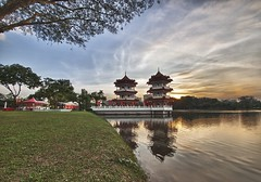 (retroSPecktive) Tags: sunset garden landscape singapore chinese olympus hdr ep2