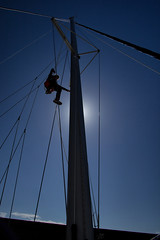 Climb (robef) Tags: ocean blue sea sky water marina climb boat chair brighton sailing yacht floating boom lazy maintenance catamaran sail mast jacks float winch premier rigging raise bosun spreaders bosuns boatswain brightonmarina boatswains