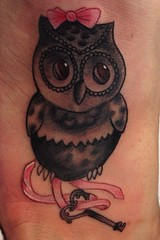 Owl key bow foot tattoo by Wes Fortier