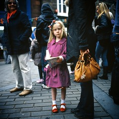 Girl with red shoes at parade. (polarisandy) Tags: carnival film rolleiflex square slide parade analogue mayday redshoes 35f extachrome