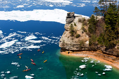 Kayaks & Ice Floes at Miners Castle - Pictured Rocks National Lakeshore (Craig - S) Tags: blue white cold green ice outdoors nationalpark spring midwest rocks kayak michigan rocky vivid sunny cliffs greatlakes clear kayaking icefloes overlook pure lakesuperior memorialday kayaks turqoise breakup icefloe pristine picturedrocks picturedrocksnationallakeshore minerscastle upperpeninsual norhternmichigan
