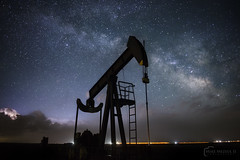 OilRigMilkyLow (Mike Mezeul II Photography) Tags: storm color horizontal stars landscape photography nikon texas unitedstates space atmosphere science astrophotography rig oil kansas thunderstorm nightsky lightning milkyway pumpjack mezeul