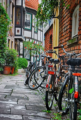 bicycles at a Schnoor Allee (Smiley Man with a Hat) Tags: germany deutschland spring bicycles bremen altstadt oldtown allee 2014 schnoor
