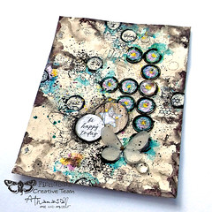 Circles and Butterflies create happy thoughts - art journal page (Athanasia, Me and Myself) Tags: 2craftychipboard 7dotsstudio acrylics artalchemy artjournal butterflies circkles denimjournal finnabaircreativeteam mixedmedia athanasia meandmyself athanasiameandmyself