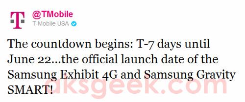 T-Mobile tweet-Samsung Gravity n Exhibit 4G
