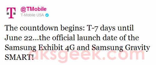 T-Mobile tweet-Samsung Gravity n Exhibit 4G