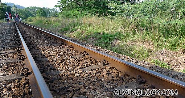 The long, rusty railway track