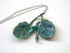 Embroidery pendant necklace (TUKON by Vered) Tags: plant tree green leaves necklace beads leaf embroidery plastic fabric etsy pendant עץ צמח עלה עלים ירוק חרוזים שרשרת תליון tukon פלסטיק בד אטסי ריקמה