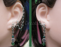 Green and silver Celtic knot cartilage chain earrings