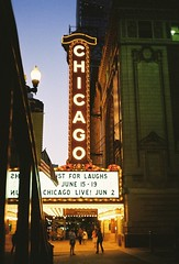 Chicago Theater (ho_hokus) Tags: chicago theater dusk 35mmfilm chicagotheater chinonbellami dnpcenturia100 filmphotographypodcast chicago2011june
